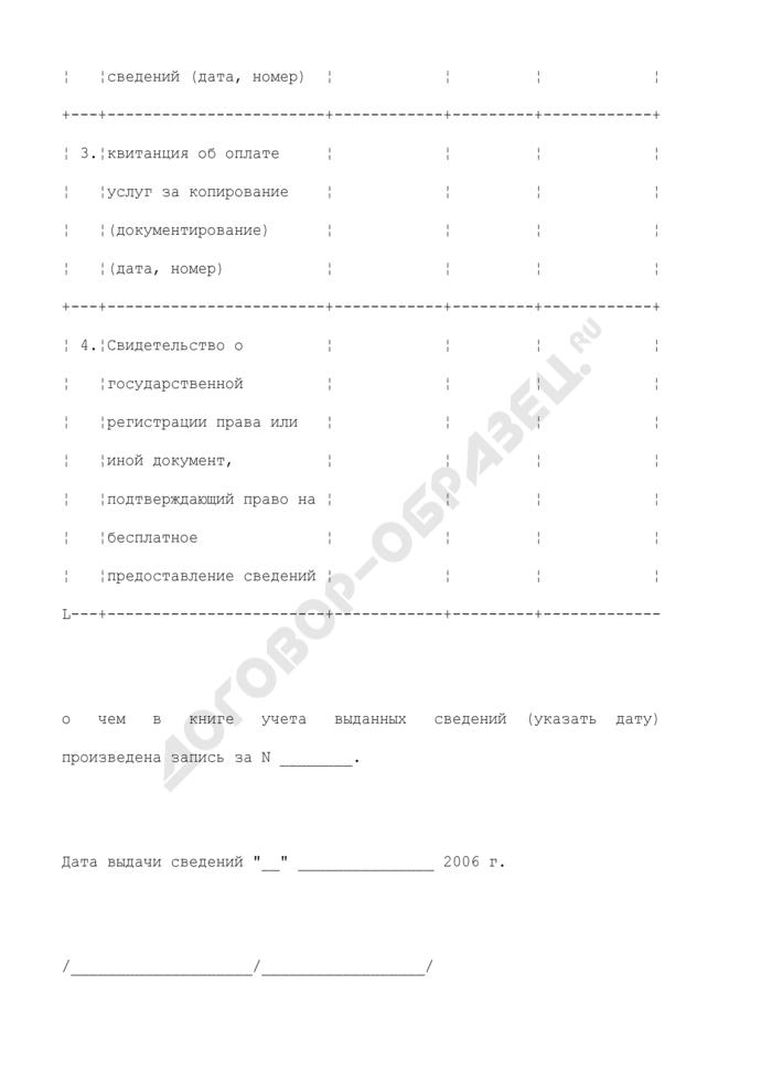 Расписка в получении заявления и прилагаемых к нему документов о предоставлении сведений государственного земельного кадастра. Страница 2