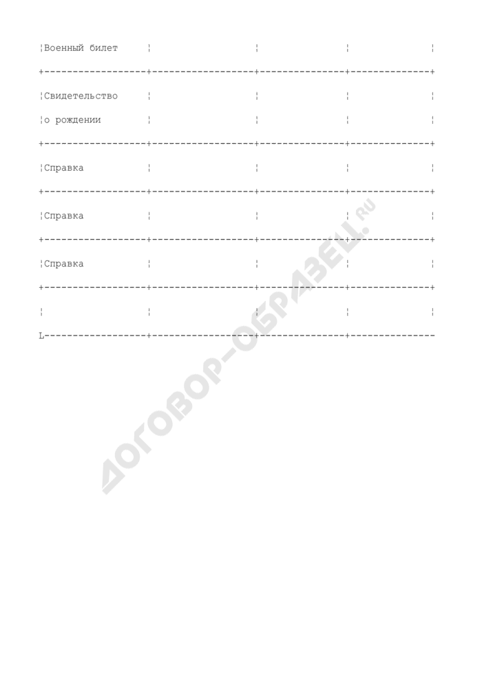 Расписка о приеме документов для назначения (перерасчета) пенсии. Форма N ПЗ-9. Страница 3