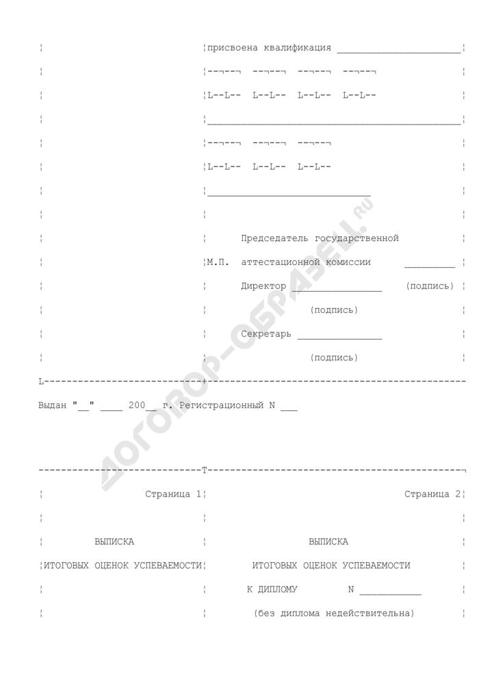 Диплом об окончании профессионального лицея (училища). Страница 2