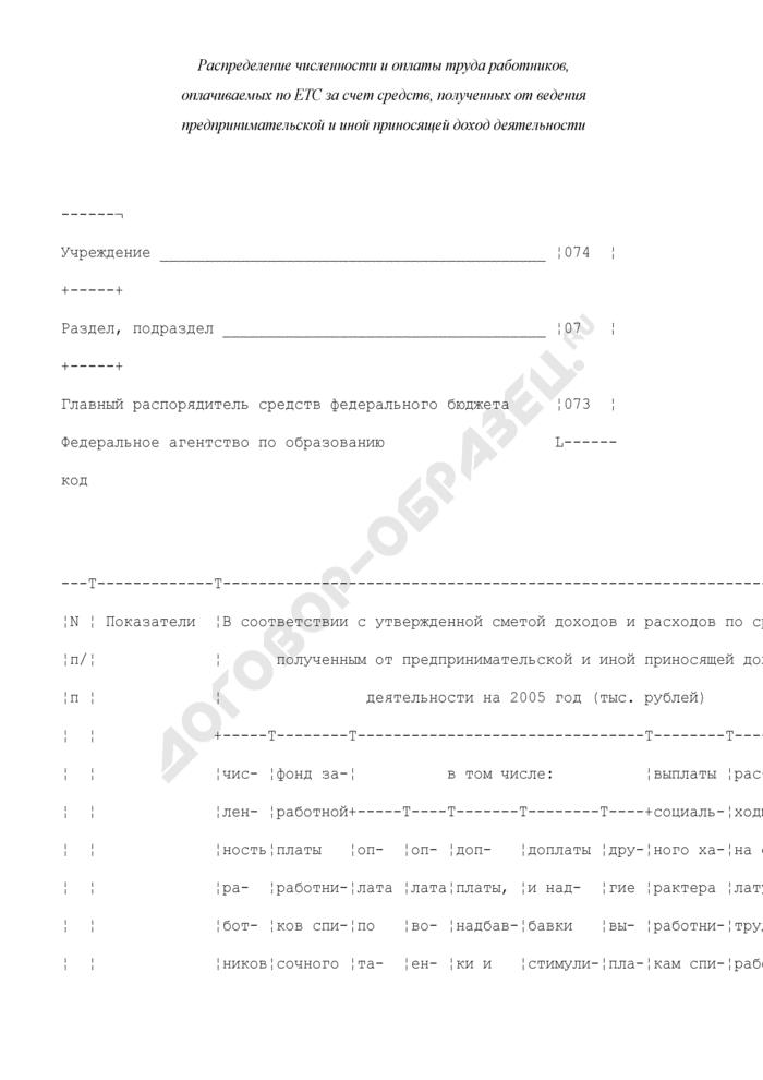 Распределение численности и оплаты труда работников, оплачиваемых по ЕТС за счет средств, полученных от ведения предпринимательской и иной приносящей доход деятельности. Страница 1