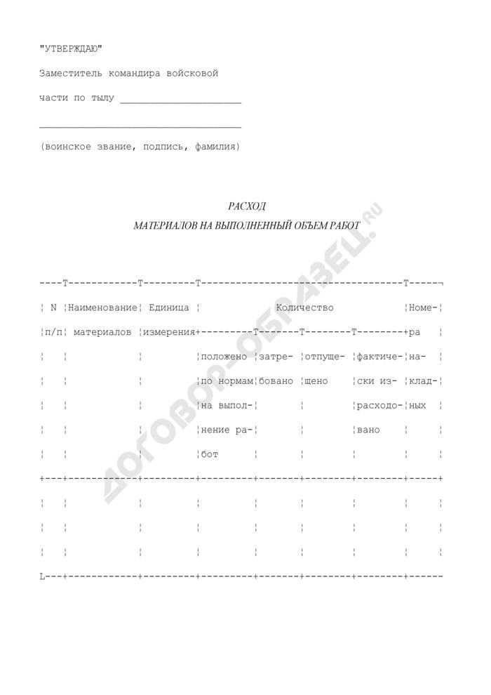 Расход материалов на выполненный объем работ. Страница 1