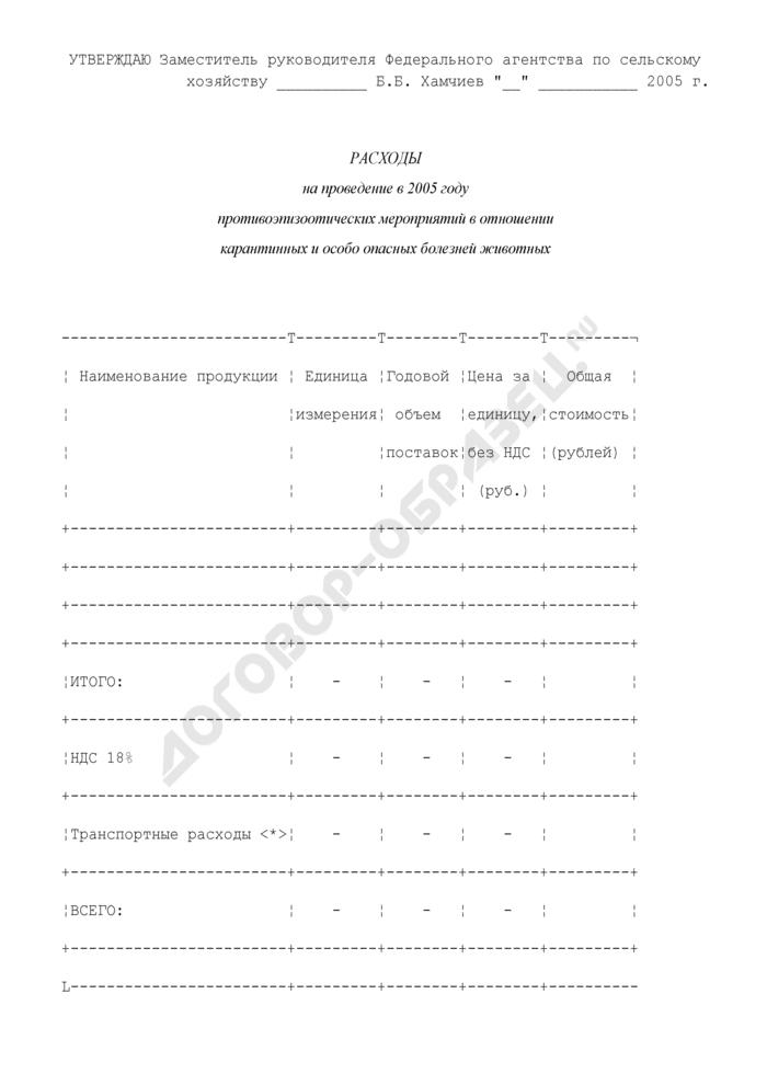 Расходы на проведение противоэпизоотических мероприятий в отношении карантинных и особо опасных болезней животных. Страница 1