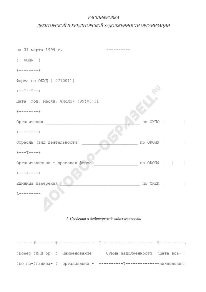 Расшифровка дебиторской и кредиторской задолженности организации. Страница 1
