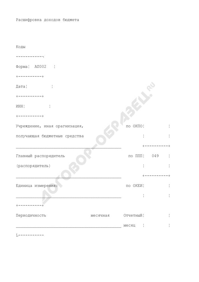 Расшифровка доходов бюджета в разрезе ведомственной классификации доходов по каждому плательщику, перечислившему средства на лицевой счет организации. Форма N АП002. Страница 1