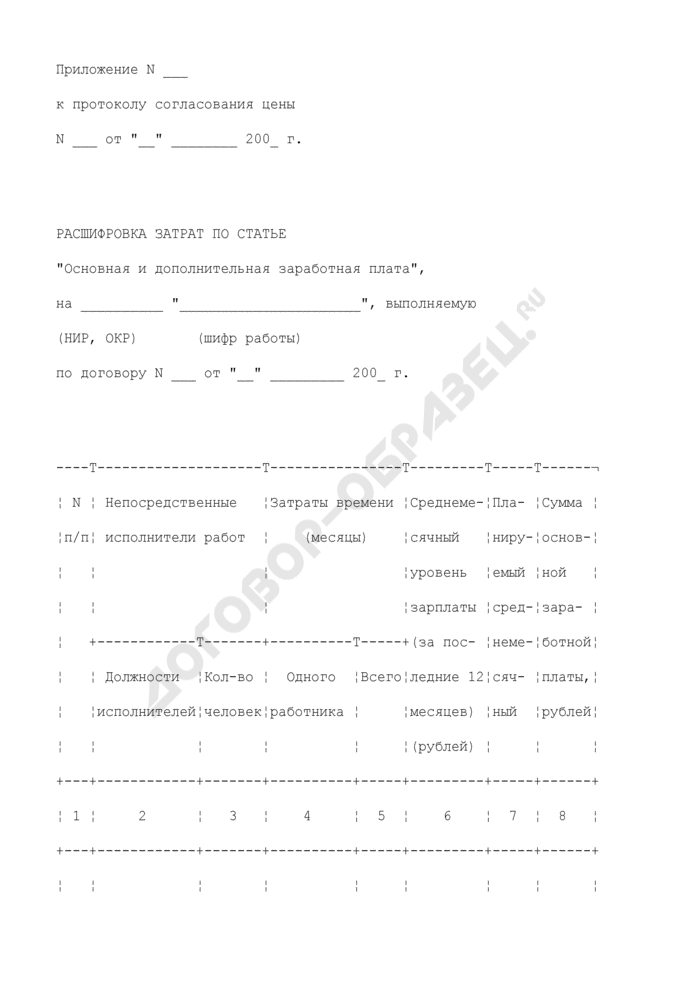 """Расшифровка затрат по статье """"Основная и дополнительная заработная плата"""" на работу, выполняемую по договору (приложение к протоколу согласования цены на выполнение научно-исследовательской, опытно-конструкторской работы). Страница 1"""
