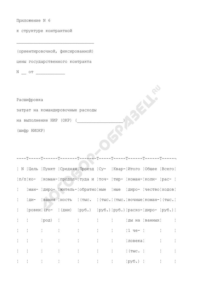 Расшифровка затрат на командировочные расходы (приложение к структуре контрактной (ориентировочной, фиксированной) цены государственного контракта на выполнение научно-исследовательской (опытно-конструкторской) работы). Страница 1