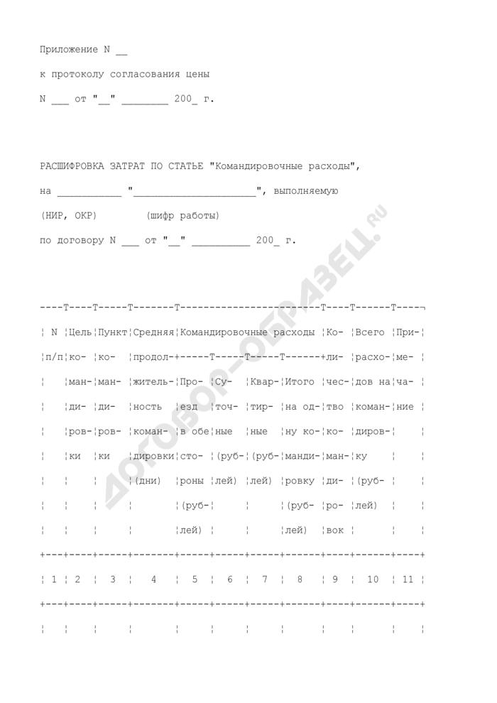 """Расшифровка затрат по статье """"Командировочные расходы"""" на работу, выполняемую по договору (приложение к протоколу согласования цены на выполнение научно-исследовательской, опытно-конструкторской работы). Страница 1"""