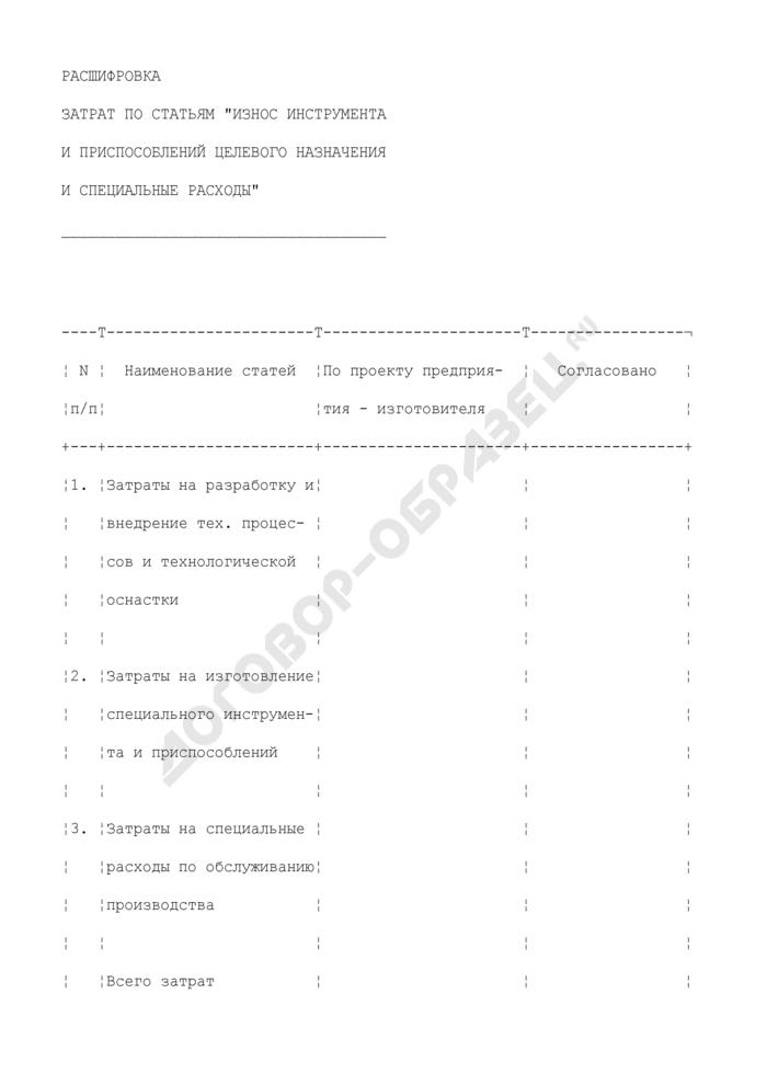 """Расшифровка затрат по статьям """"Износ инструмента и приспособлений целевого назначения и специальные расходы"""" (приложение к форме N 2В). Страница 1"""