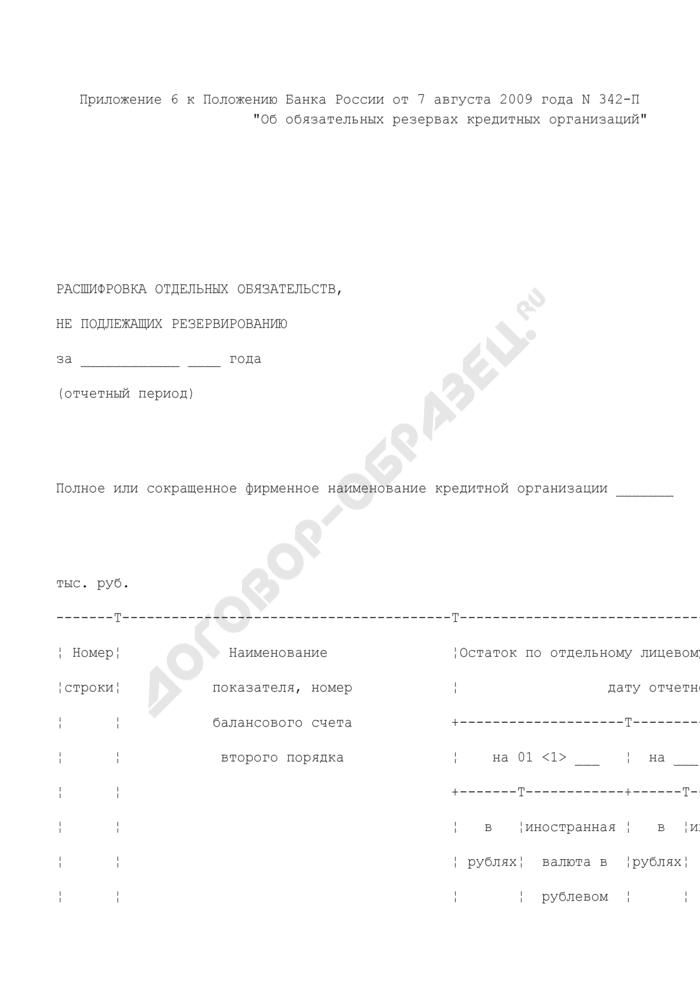 Расшифровка отдельных обязательств кредитной организации, не подлежащих резервированию. Страница 1