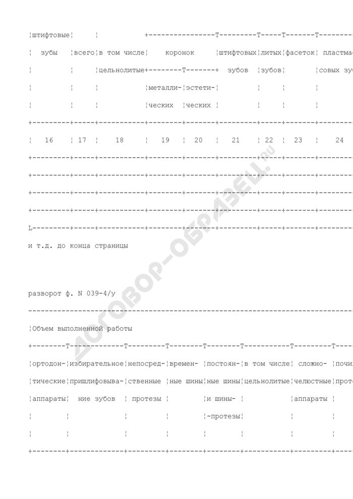 Дневник учета работы врача стоматолога-ортопеда. Форма N 039-4/у. Страница 3