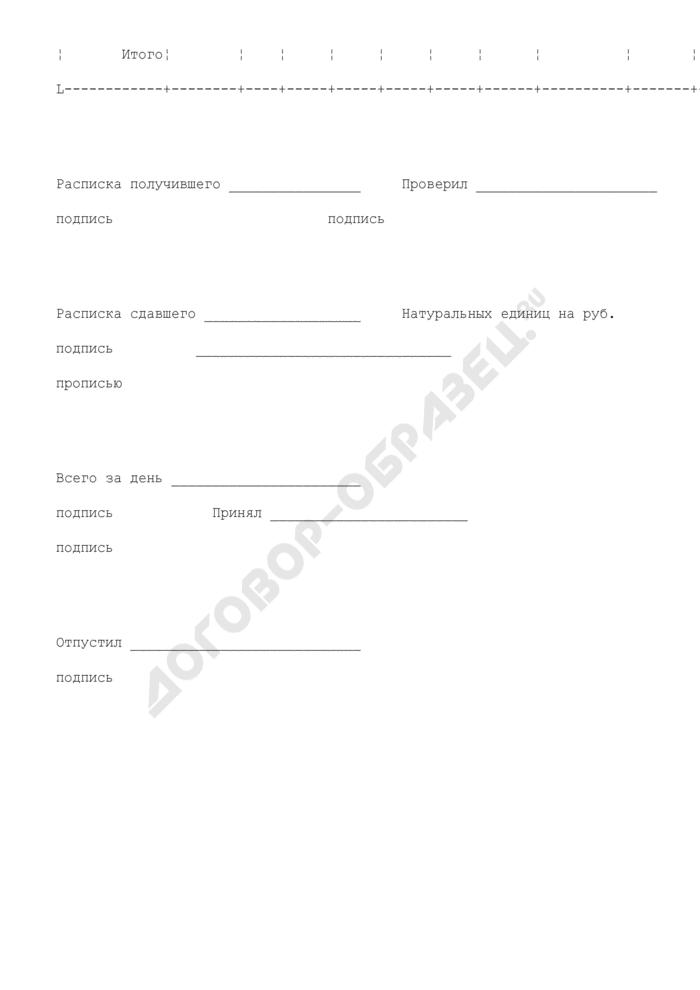 Дневной заборный лист на отпуск готовых изделий. Специализированная форма N 11-ОПит. Страница 3