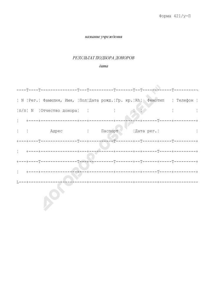 Результат подбора доноров. Форма N 421/у-П. Страница 1