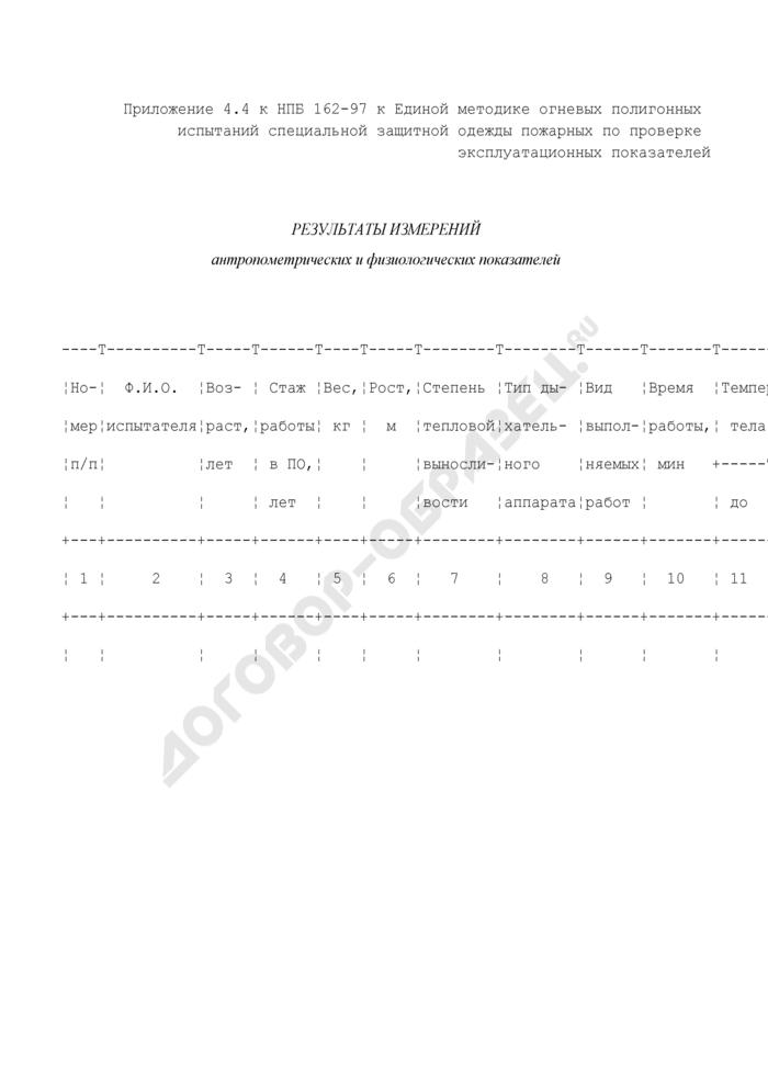 Результаты измерений антропометрических и физиологических показателей до и после испытаний специальной защитной одежды пожарных. Страница 1