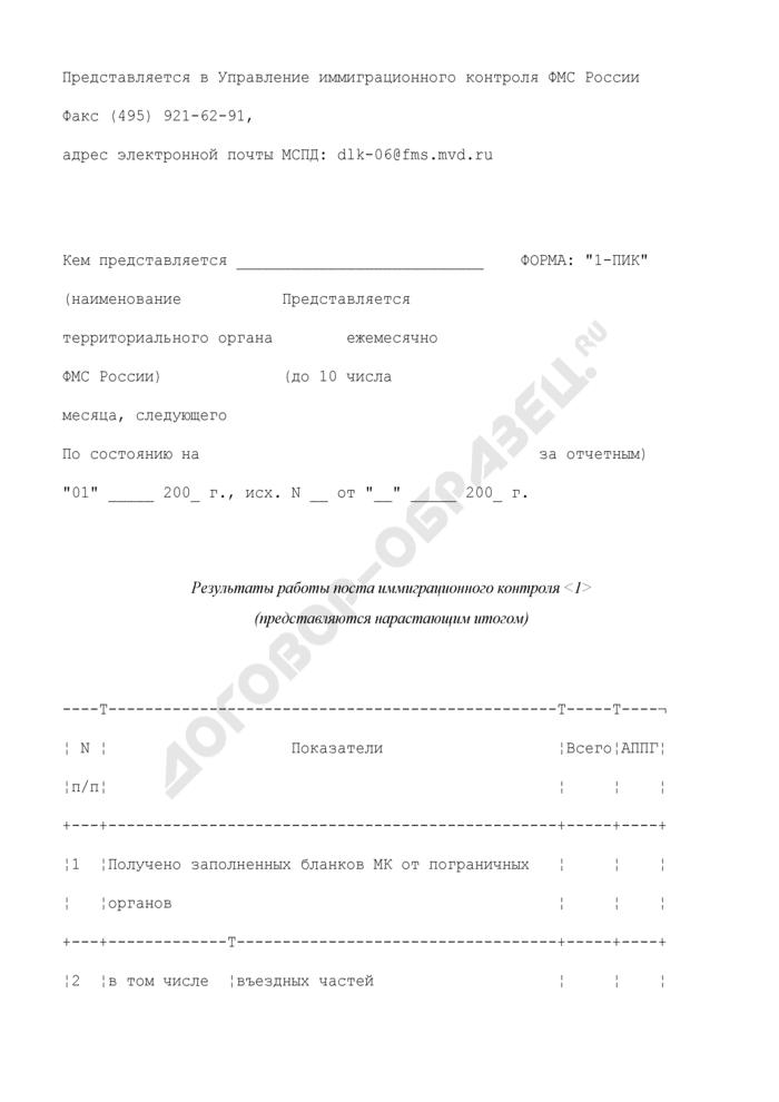 Результаты работы поста иммиграционного контроля. Форма N 1-ПИК. Страница 1