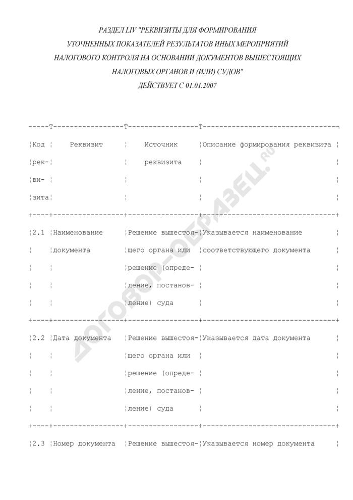 Реквизиты для формирования уточненных показателей результатов иных мероприятий налогового контроля на основании документов вышестоящих налоговых органов и (или) судов (раздел LIV). Страница 1