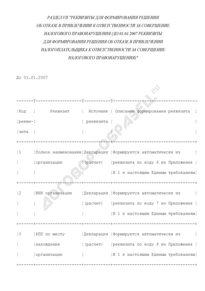 Реквизиты для формирования решения об отказе в привлечении к ответственности за совершение налогового правонарушения (до 01.01.2007 реквизиты для формирования решения об отказе в привлечении налогоплательщика к ответственности за совершение налогового правонарушения) (раздел VII). Страница 1