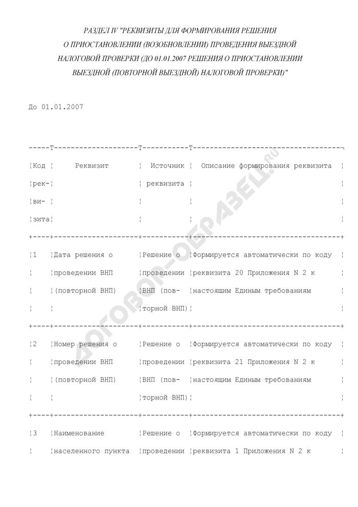 Реквизиты для формирования решения о приостановлении (возобновлении) проведения выездной налоговой проверки (до 01.01.2007 решения о приостановлении выездной (повторной выездной) налоговой проверки) (раздел IV). Страница 1