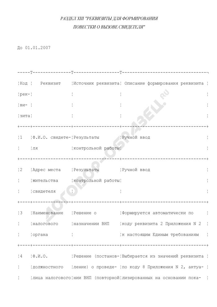 Реквизиты для формирования повестки о вызове свидетеля (раздел XIII). Страница 1