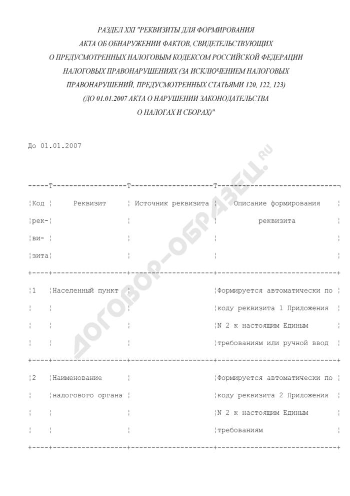 Реквизиты для формирования акта об обнаружении фактов, свидетельствующих о предусмотренных Налоговым кодексом Российской Федерации налоговых правонарушениях (за исключением налоговых правонарушений, предусмотренных статьями 120, 122, 123) (до 01.01.2007 акта о нарушении законодательства о налогах и сборах) (раздел XXI). Страница 1