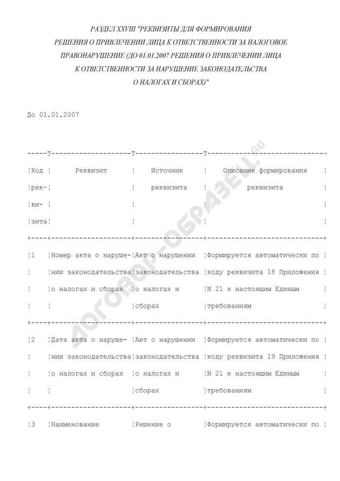 Реквизиты для формирования решения о привлечении лица к ответственности за налоговое правонарушение (до 01.01.2007 решения о привлечении лица к ответственности за нарушение законодательства о налогах и сборах) (раздел XXVIII). Страница 1