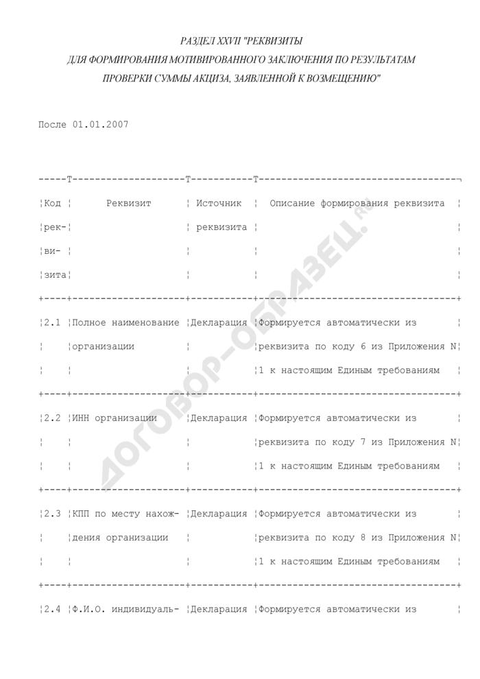 Реквизиты для формирования мотивированного заключения по результатам проверки суммы акциза, заявленной к возмещению (раздел XXVII). Страница 1