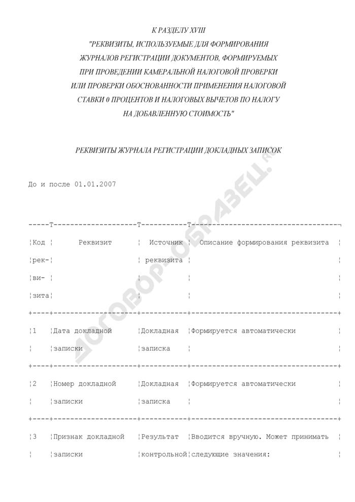Реквизиты журнала регистрации докладных записок (к разделу XVIII). Страница 1