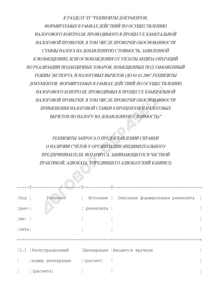 Реквизиты запроса о предоставлении справки о наличии счетов у организации (индивидуального предпринимателя, нотариуса, занимающегося частной практикой, адвоката, учредившего адвокатский кабинет) (к разделу XV). Страница 1
