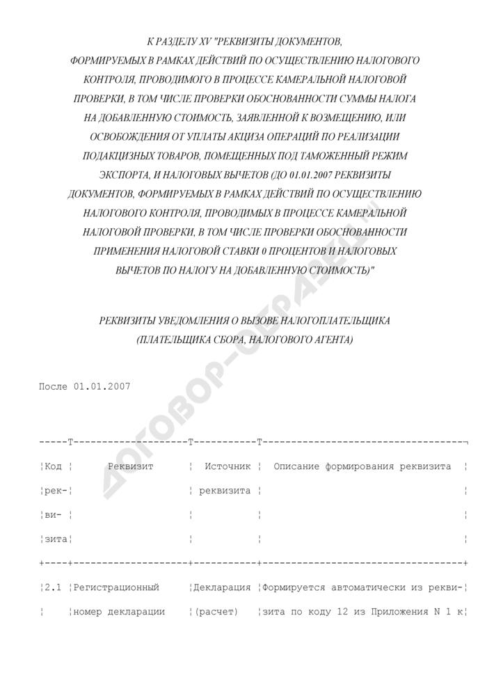 Реквизиты уведомления о вызове налогоплательщика (плательщика сбора, налогового агента) (к разделу XV). Страница 1