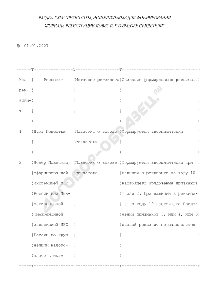Реквизиты, используемые для формирования журнала регистрации повесток о вызове свидетеля (раздел XXXV). Страница 1