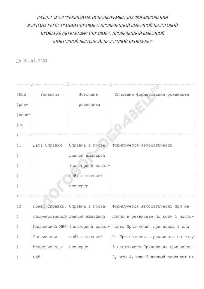 Реквизиты, используемые для формирования журнала регистрации справок о проведенной выездной налоговой проверке (до 01.01.2007 справок о проведенной выездной (повторной выездной) налоговой проверке) (раздел XXXVI). Страница 1