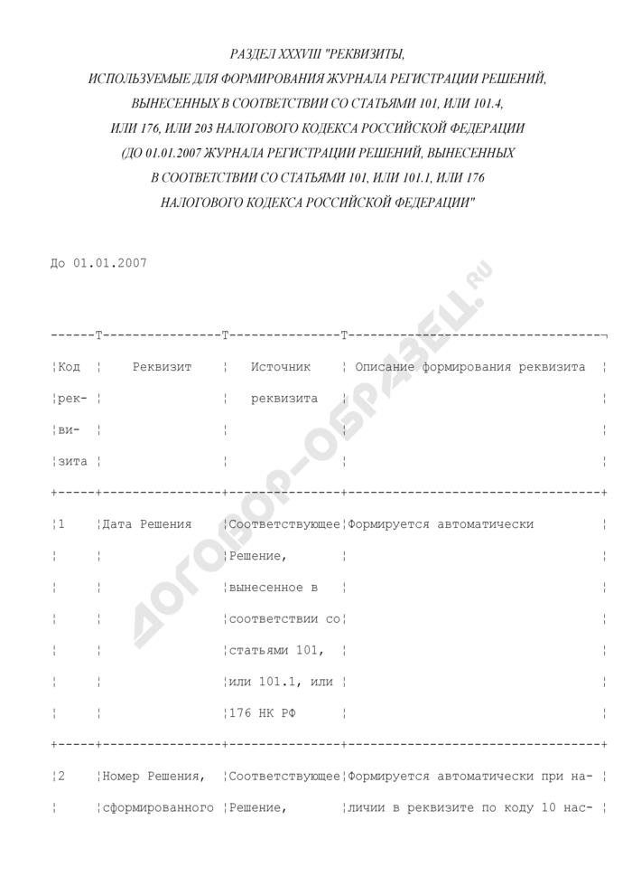 Реквизиты, используемые для формирования журнала регистрации решений, вынесенных в соответствии со статьями 101, или 101.4, или 176, или 203 Налогового кодекса Российской Федерации (до 01.01.2007 журнала регистрации решений, вынесенных в соответствии со статьями 101, или 101.1, или 176 Налогового кодекса Российской Федерации (раздел XXXVIII). Страница 1