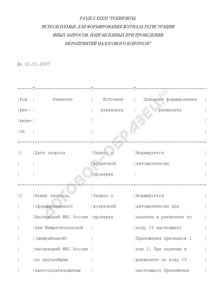 Реквизиты, используемые для формирования журнала регистрации иных запросов, направленных при проведении мероприятий налогового контроля (раздел XXXXI). Страница 1