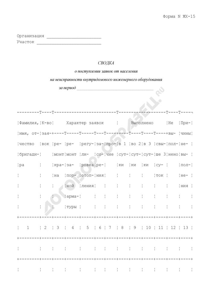 Сводка о поступлении заявок от населения на неисправности внутридомового инженерного оборудования. Форма N ЖХ-15. Страница 1