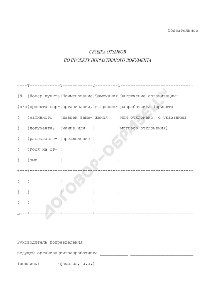 Сводка отзывов по проекту нормативного документа. Страница 1