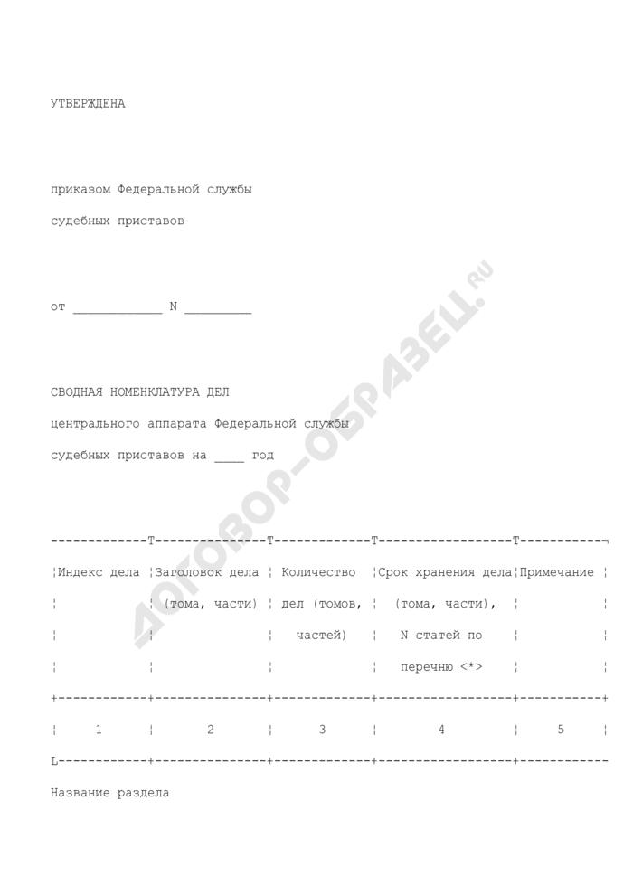 Сводная номенклатура дел центрального аппарата Федеральной службы судебных приставов. Страница 1