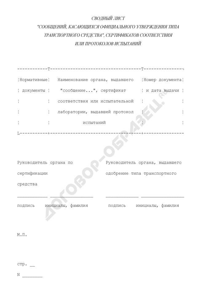 """Сводный лист """"Сообщений, касающихся официального утверждения типа транспортного средства"""", сертификатов соответствия или протоколов испытаний (приложение к одобрению типа транспортного средства категории M2-3). Страница 1"""