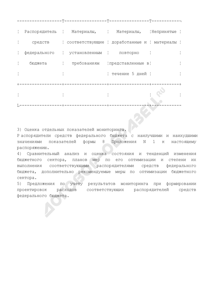 Состав и основное содержание материалов, представляемых в Министерство финансов Российской Федерации к докладу Правительству Российской Федерации о результатах мониторинга. Страница 2