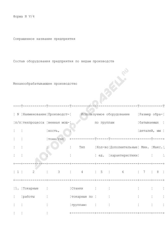 Состав оборудования предприятия, находящегося в сфере ведения и координации Роспрома, по видам производств. Механообрабатывающее производство. Форма N V/4. Страница 1