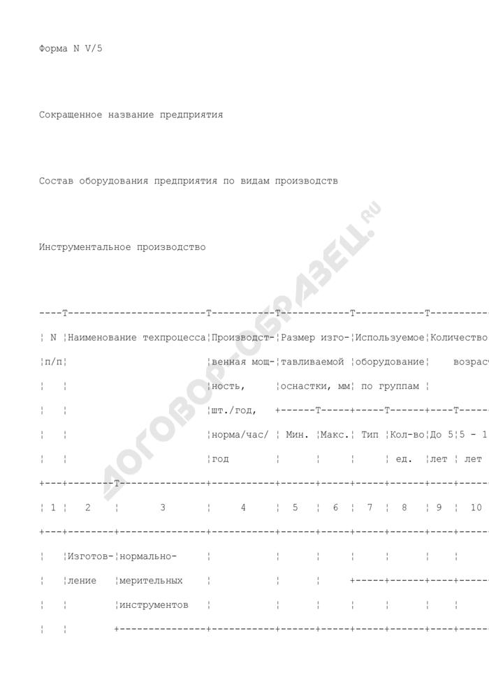Состав оборудования предприятия, находящегося в сфере ведения и координации Роспрома, по видам производств. Инструментальное производство. Форма N V/5. Страница 1