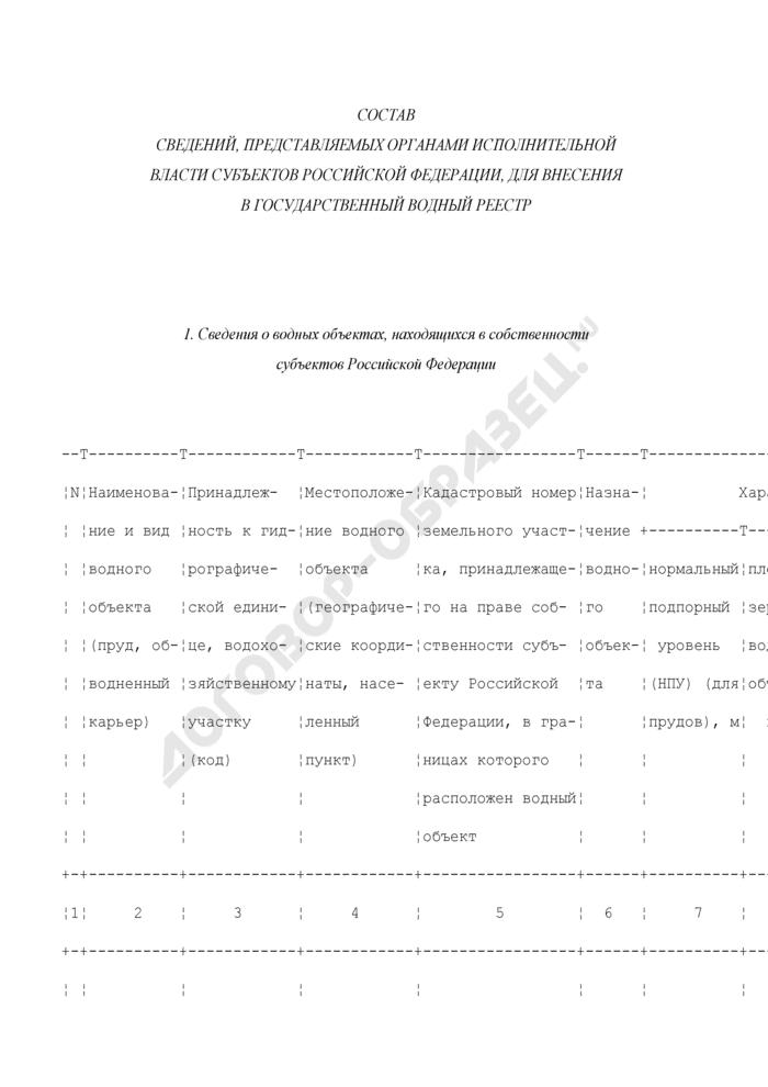 Состав сведений, представляемых органами исполнительной власти субъектов Российской Федерации, для внесения в государственный водный реестр. Страница 1