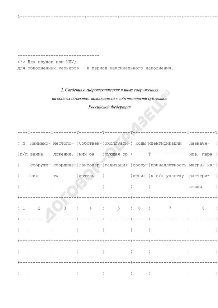 Состав сведений, представляемых органами исполнительной власти субъектов Российской Федерации, для внесения в государственный водный реестр. Страница 2