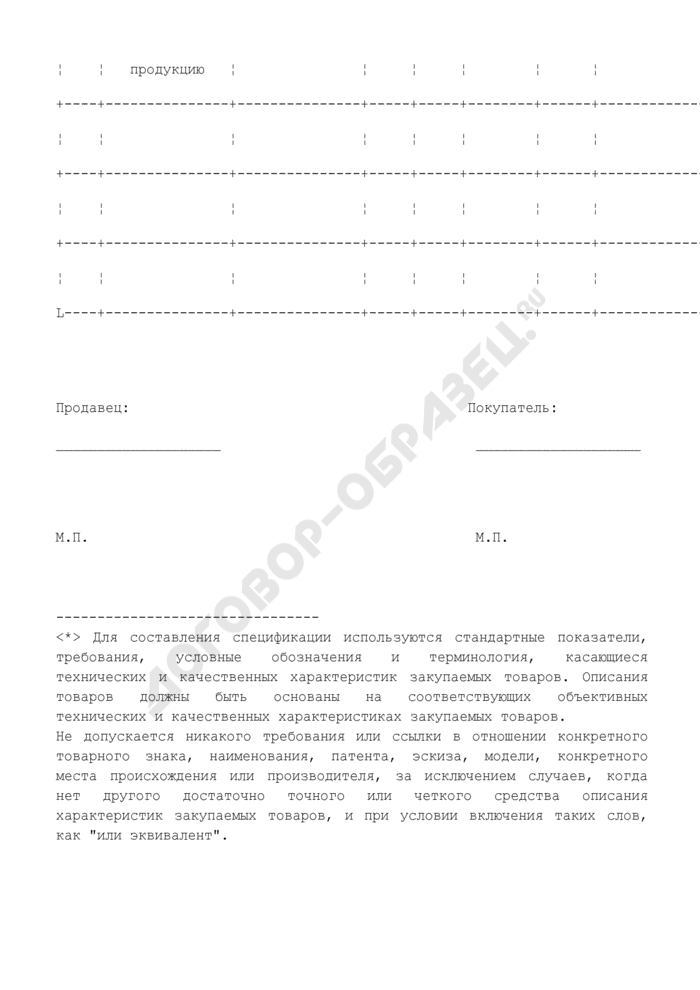 Спецификация на товары, подлежащие поставке (приложение к контракту на поставку товаров). Страница 2