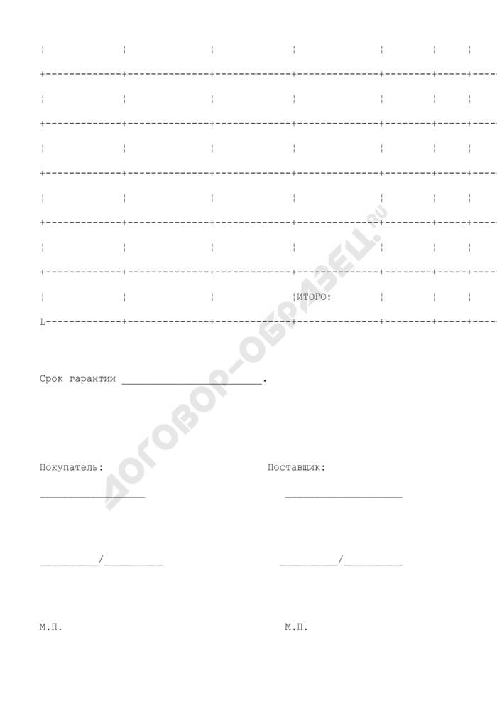Спецификация оборудования (приложение к договору поставки оборудования связи). Страница 2