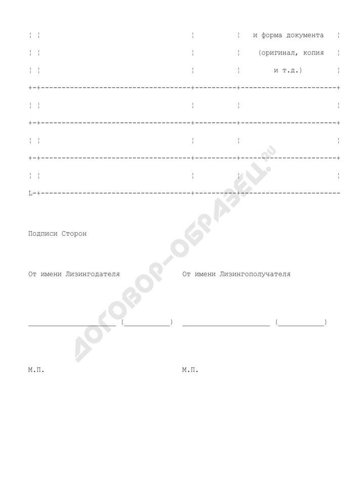 Спецификация предмета лизинга (приложение к договору лизинга). Страница 2