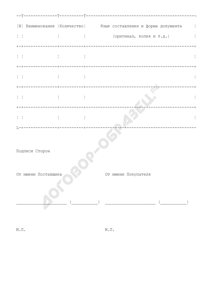 Спецификация товара (приложение к договору поставки). Страница 2
