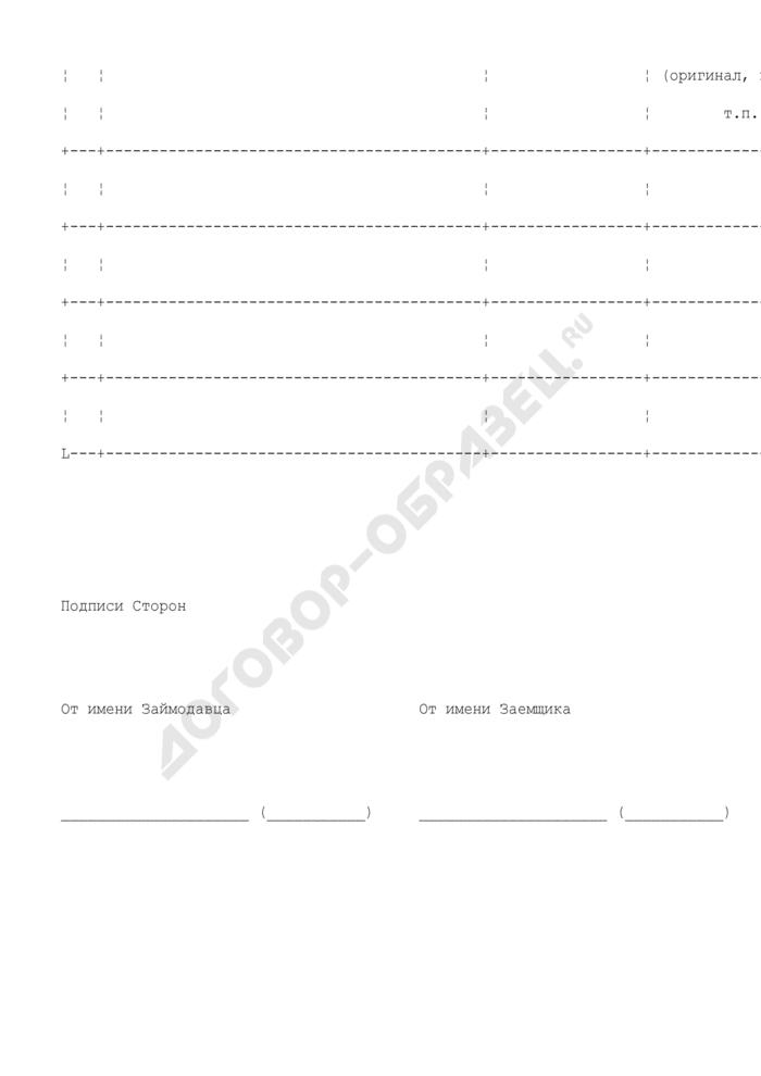 Спецификация товара (приложение к договору товарного займа). Страница 2