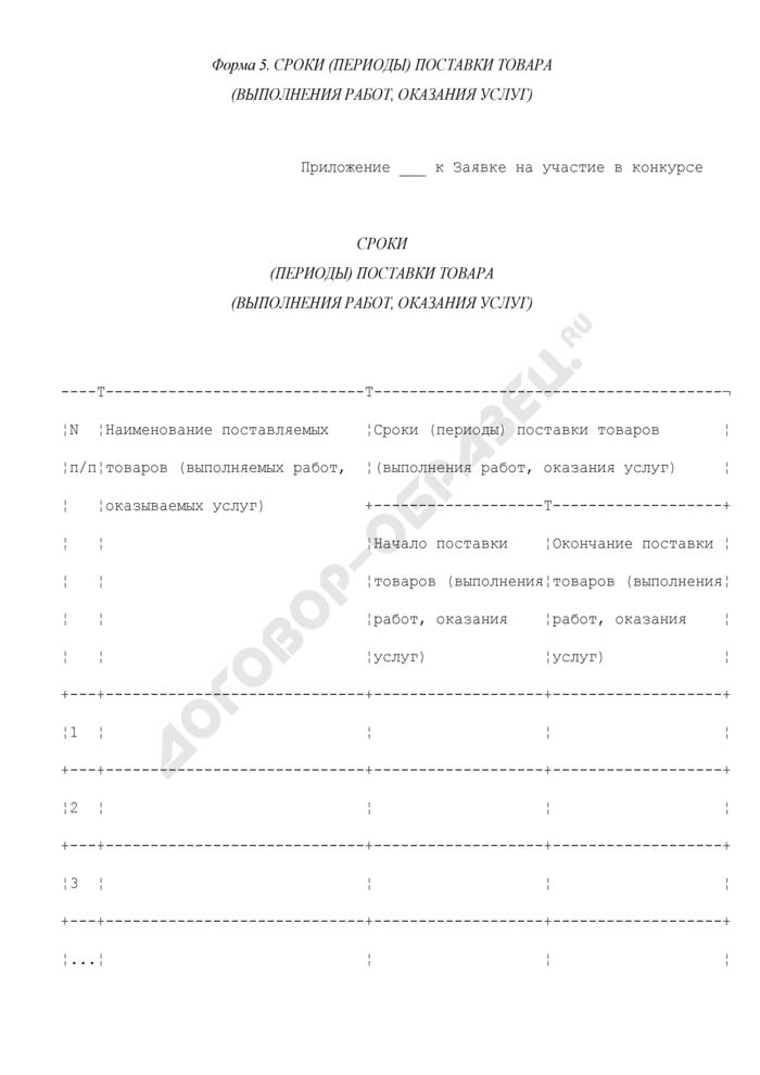 Сроки (периоды) поставки товара (выполнения работ, оказания услуг) (приложение к заявке на участие в конкурсе на право заключения государственного контракта на поставки товаров, выполнение работ, оказание услуг для государственных нужд города Москвы). Форма N 5. Страница 1