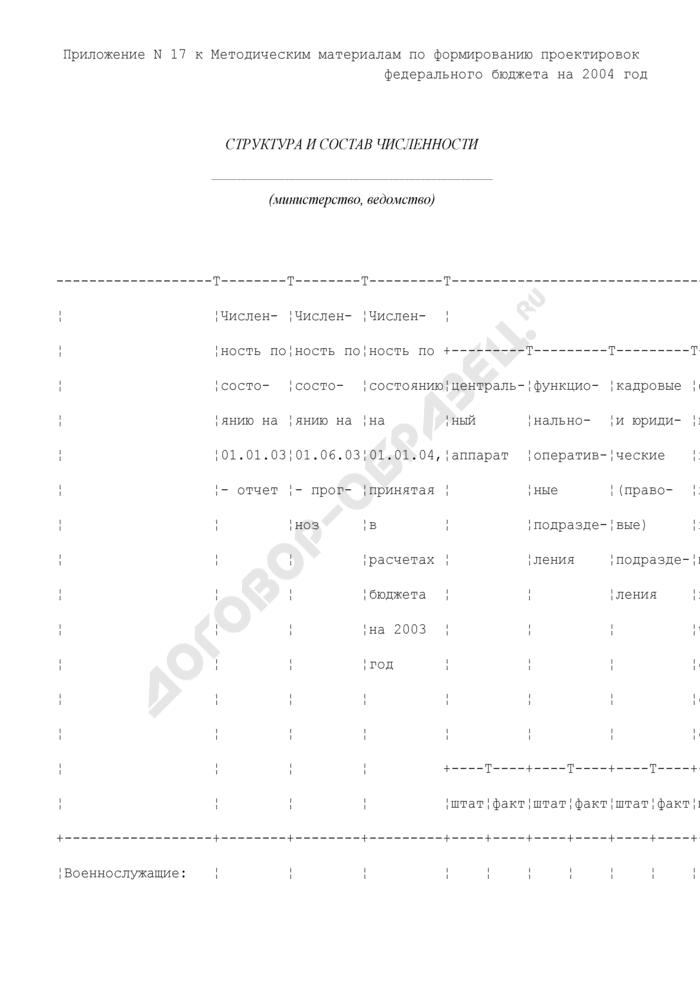 Структура и состав численности военнослужащих и приравненных к ним лиц, а также гражданского персонала. Страница 1