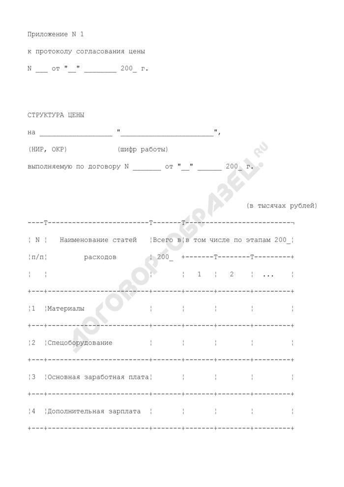 Структура цены на работу, выполняемую по договору (приложение к протоколу согласования цены на выполнение научно-исследовательской, опытно-конструкторской работы). Страница 1