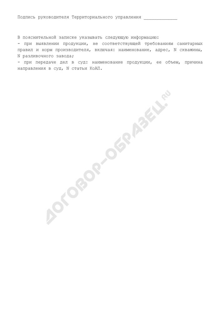Схема представления сведений о проведении надзора за производством и оборотом минеральной воды. Страница 3